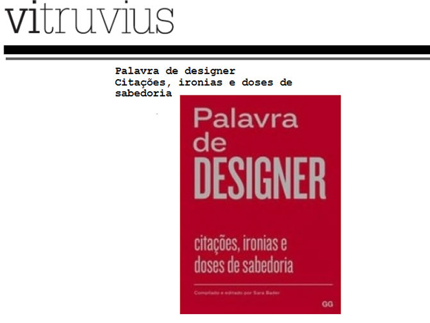 Indicação do Parceiro: Vitruvius sobre o livro Palavra de Designer