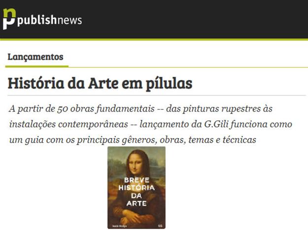 Indicação do Parceiro: Publishnews sobre o livro Breve Historia da Arte