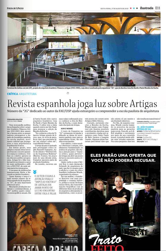 La prensa brasileña se hace eco del número de 2G dedicado a Vilanova Artigas