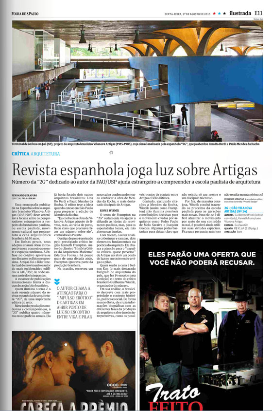 The Brazilian press on 2G's Vilanova Artigas issue