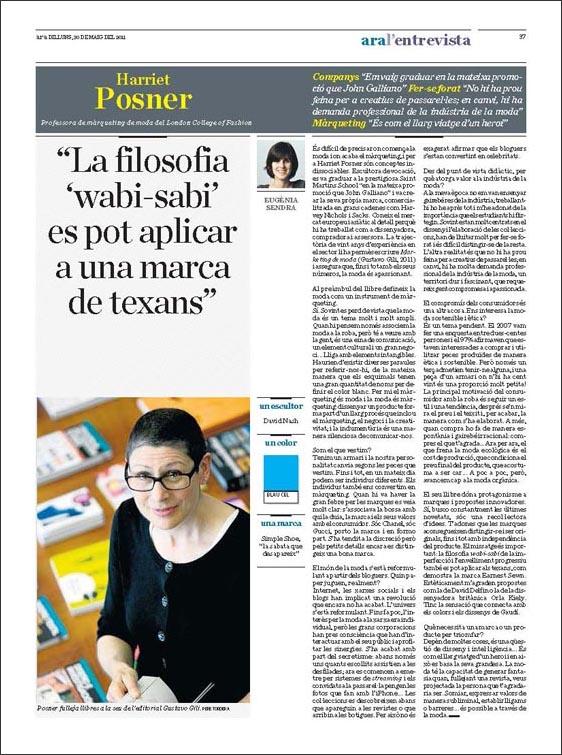 Entrevista > Harriet Posner en el diario Ara