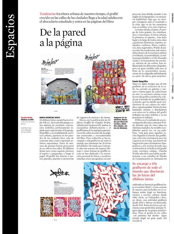 Reseña > 'Alfabeto graffiti' en el Cultura|s de La Vanguardia