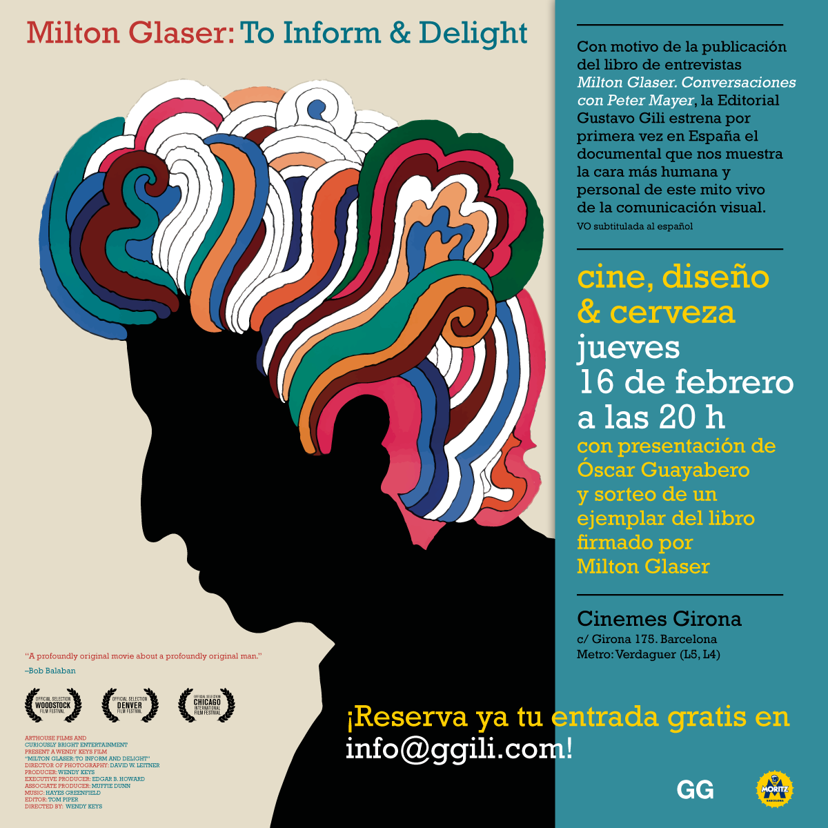 ¡Te invitamos a una noche de cine, diseño y cerveza con Milton Glaser!