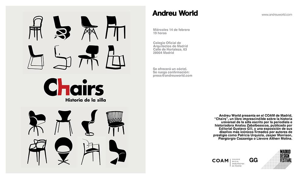 Presentación 14/02 > Diseños icónicos en el COAM para presentar 'Chairs', la historia de la silla de Anatxu Zabalbeascoa